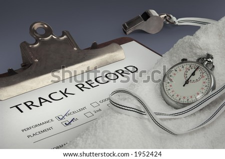 clip board, whistle, stopwatch, towel on dark background - stock photo