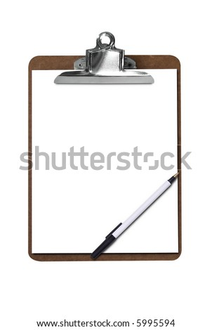 Clip board with blank paper and pen isolated over white with a clipping path - stock photo