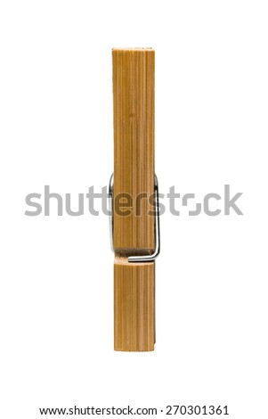 clip for clothes from bamboo wood isolated - stock photo