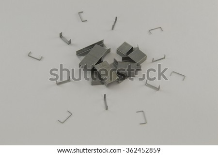 clip from the stapler on a white background