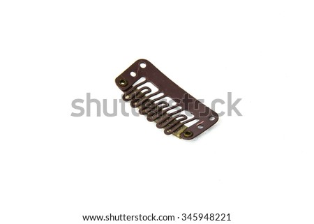 Clip in extension clips - brown. White background