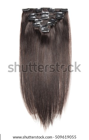 Clip on hair extensions stock images royalty free images clip in straight chocolate brown human hair extensions pmusecretfo Image collections