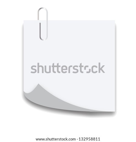 Clip on a paper list with curl corner isolated on white background