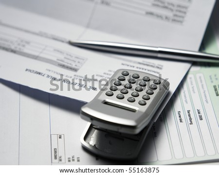 clip on the bills waiting for payment - stock photo