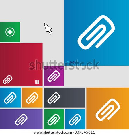 clip to paper icon sign. buttons. Modern interface website buttons with cursor pointer. illustration - stock photo
