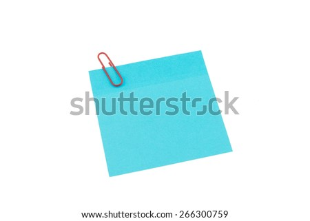 Clip with blank paper note on white background