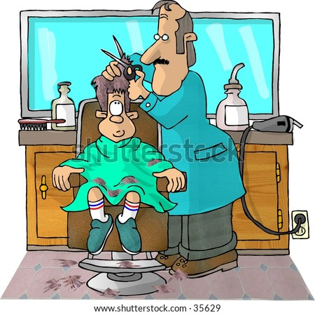 Clipart illustration of a boy getting a haircut