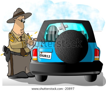 Clipart illustration of a Highway Patrolman giving a citation to a driver. - stock photo