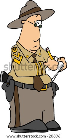 Clipart illustration of a highway patrolman writing on a clipboard. - stock photo
