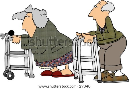 Clipart illustration of a man an woman having a race with their walkers. - stock photo