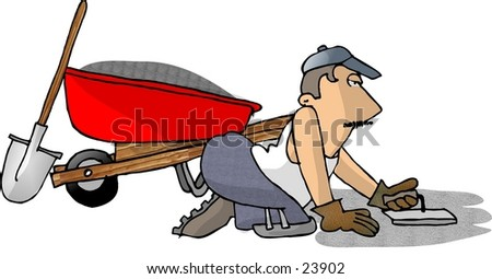 Clipart illustration of a man laying cement. - stock photo