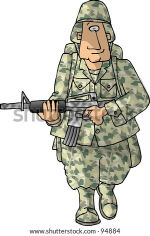 Handsome Smiling American Soldier Duffel Bag Stock Vector ...