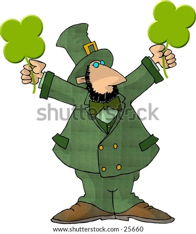 Clipart illustration of an Irish Leprechaun holding 2 four leaf clovers.