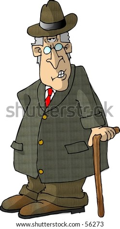 Clipart illustration of an old man with a cane