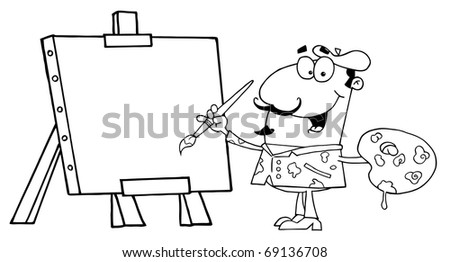 Clipart Illustration Of An Outlined Painter - stock photo