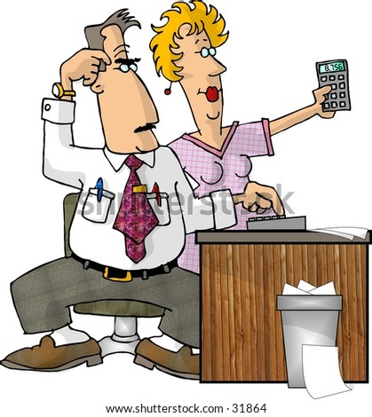 Clipart illustration of 2 engineers looking at a calculator.