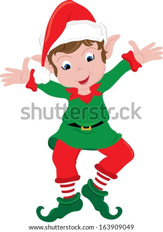 Clipart image of a happy little Christmas elf dancing excitedly.