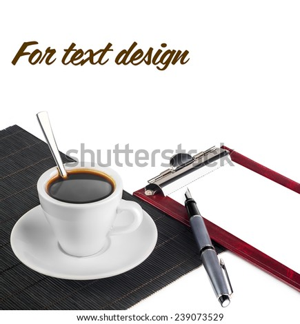 clipboard, a Cup of coffee and pen isolated on white background - stock photo