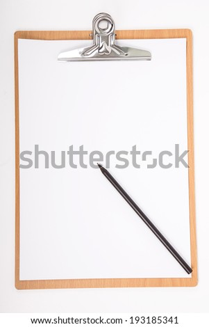 Clipboard and A4 white paper with isolated for add texture