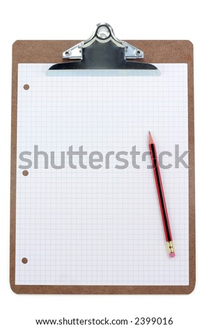 clipboard and grid  paper with white background