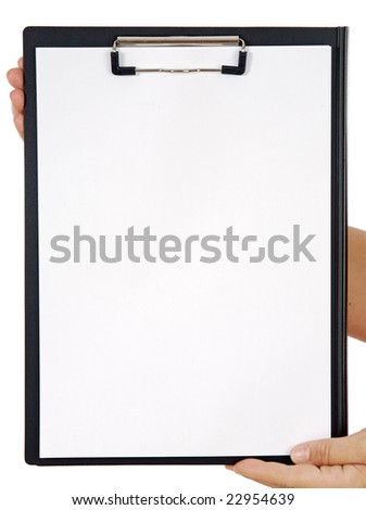 Clipboard and hands a over white background - write your text - - stock photo