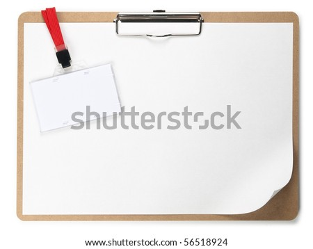 Clipboard and ID card - stock photo