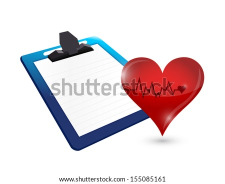 clipboard and lifeline heart illustration design over white - stock photo