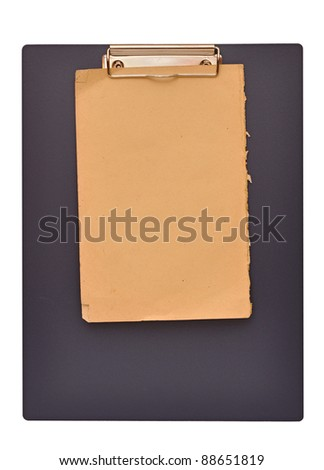 Clipboard and old papers isolated on white background - stock photo
