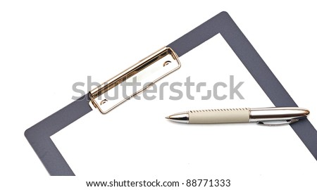Clipboard and papers isolated on white background - stock photo