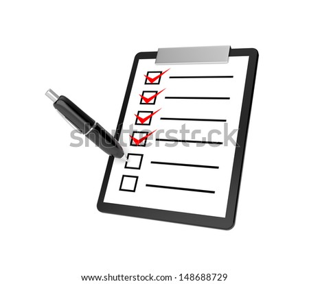 Clipboard and pen - stock photo