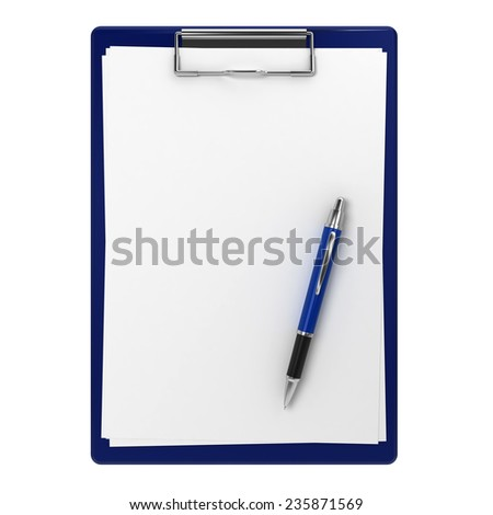 Clipboard and pen. 3d illustration isolated on white background