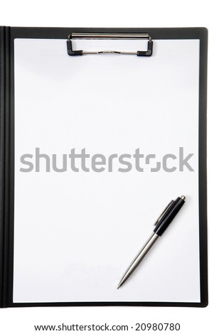 Clipboard and pen on a over white background
