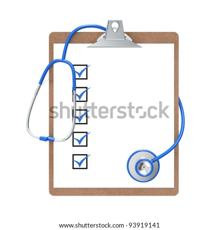 Clipboard and Stethoscope. Clipboard with Check marks and a Stethoscope. Green and steel. Isolated. - stock photo