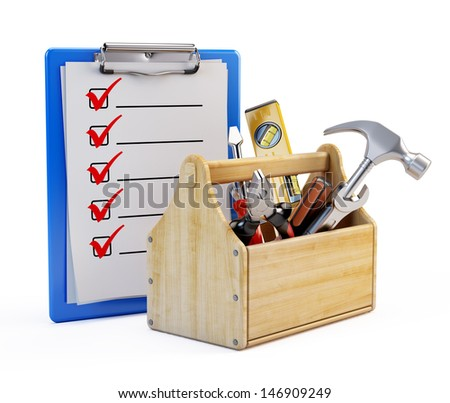 Clipboard and toolbox with tools - stock photo
