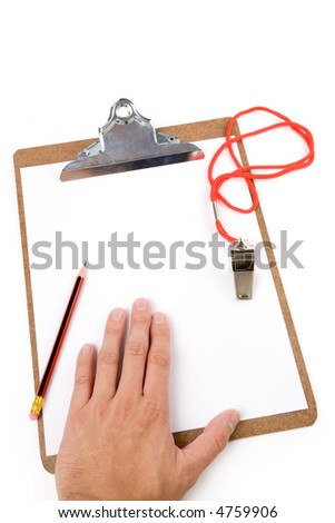 Clipboard and Whistle, sport concept - stock photo