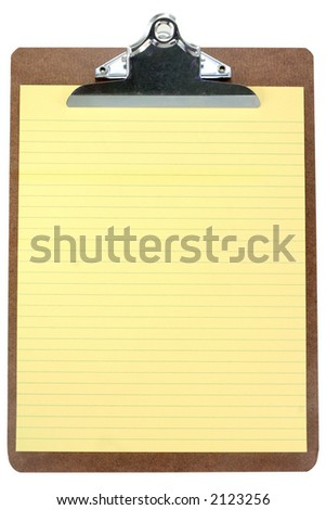clipboard and yellow notepaper with white background