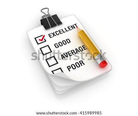 Clipboard Check List with Pencil on White Background  - High Quality 3D Render   - stock photo