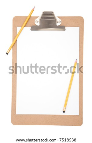 clipboard close up with pencils on white background