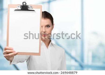 Clipboard, Human Hand, Paper. - stock photo