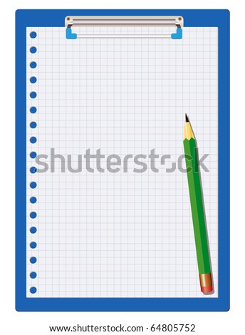 clipboard isolated on white with a green pencil - stock photo