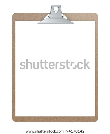 Clipboard. Masonite clipboard with blank paper for copy space.