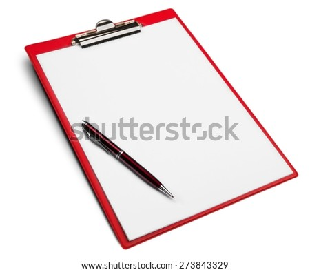 Clipboard, Pen, Paper. - stock photo