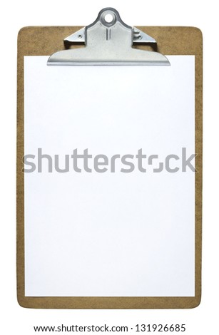 Clipboard with a blank sheet of paper isolated on white background