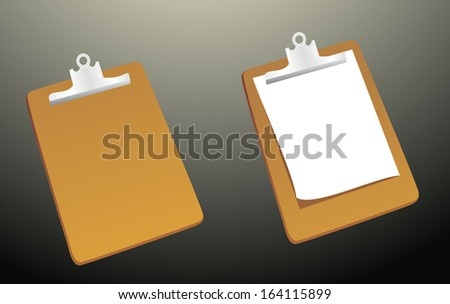Clipboard with a sheet of paper