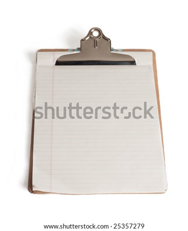 Clipboard with a sheet of paper isolated on white background.
