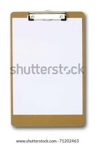 Clipboard with a sheet of white paper isolated on white background. - stock photo