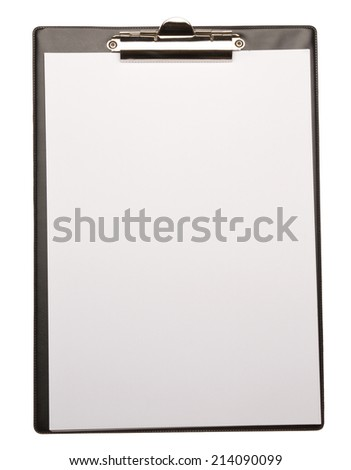 Clipboard with blank paper isolated on white - stock photo