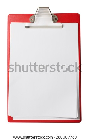 clipboard with blank sheets of paper isolated with clipping path - stock photo