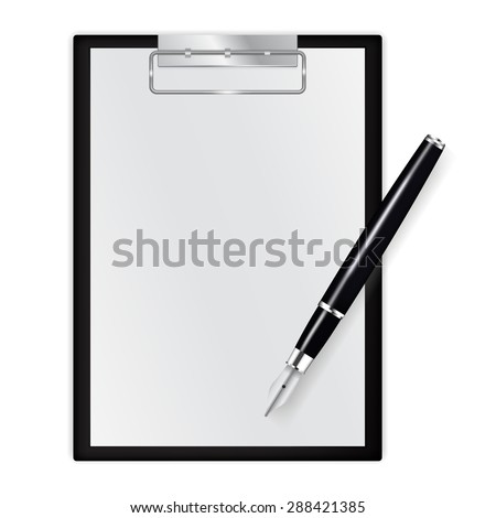 Clipboard with blank sheets of paper with fountain writing pen isolated on white. Raster version