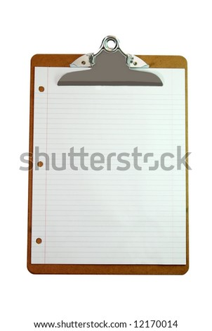 Clipboard with blank white paper isolated on white background with clipping path. - stock photo
